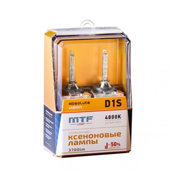 Ксеноновые лампы MTF-Light D1S Absolute Vision +50% 4800K AVBD1S