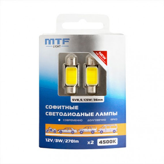 Салонные светодиодные лампы MTF C5W COB 4500K COB45C5W