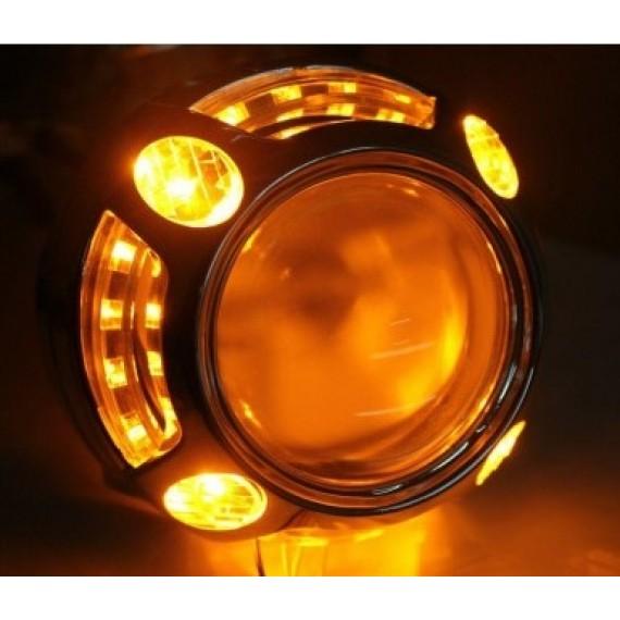 """Бленда (маска) для биксеноновых линз Optima Panamera Style 3.0"""" с ангельскими глазками CREE + режим поворотника"""