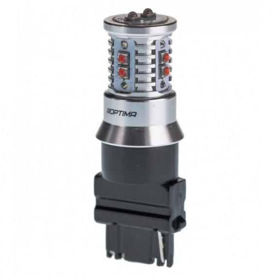 Светодиодная лампа Optima MiniCREE P27W (3156) красная 50W с обманкой