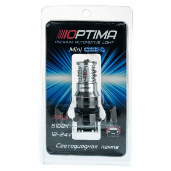 Светодиодная лампа Optima MiniCREE P27W (3156) желтая 50W с обманкой