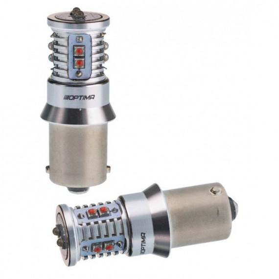 Светодиодная лампа Optima MiniCREE P21W красная 50W с обманкой